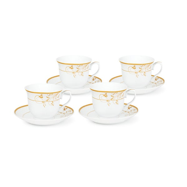 Gold Floral Pattern Tea/Coffee Set for Four 21964996