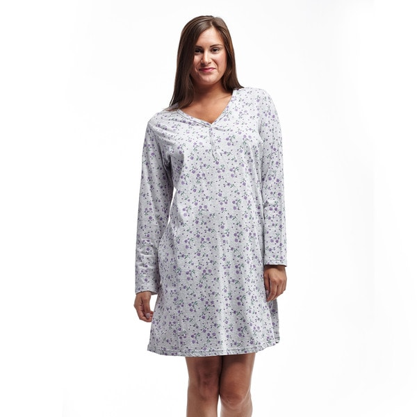 La Cera Women's Grey Cotton Long Sleeve Jersey Knit Sleepshirt