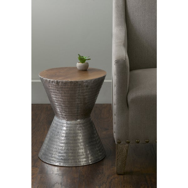 East At Main's Lupton Silver Teakwood Round Accent Table