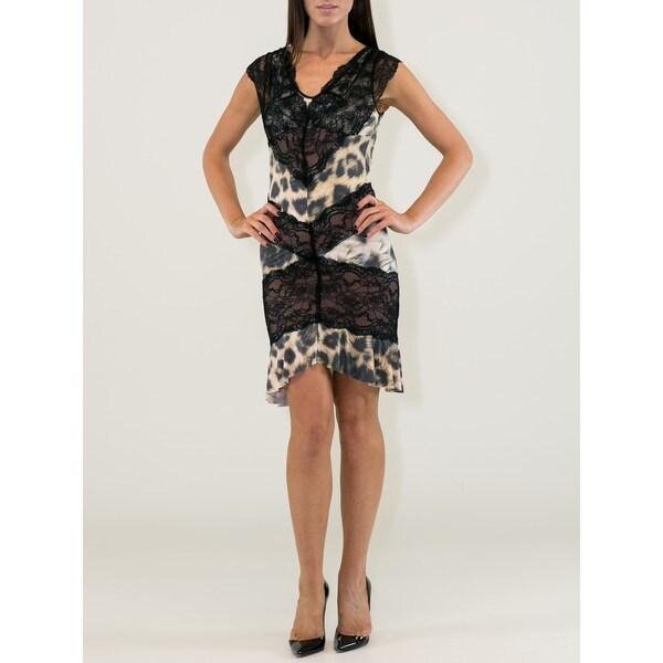 Women's Animal Print Viscose V-neck Sleeveless Lacy Dress