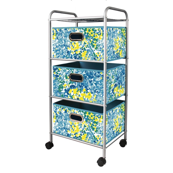 Blue/ Green 3-drawer Metal Trolley Cart