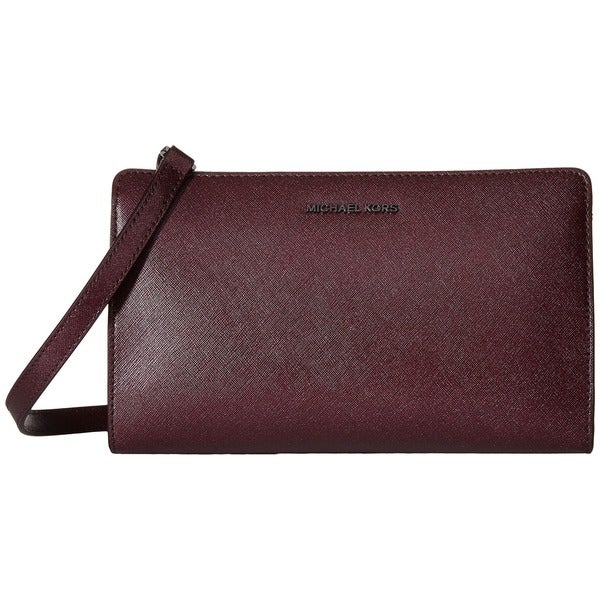 Michael Michael Kors Plum Textured Saffiano Leather Convertible Clutch