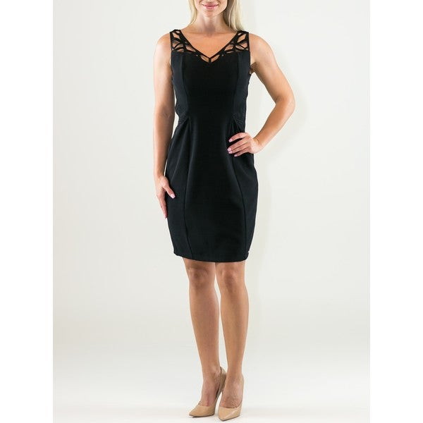 Womens Polyester V-neck Sheath Dress