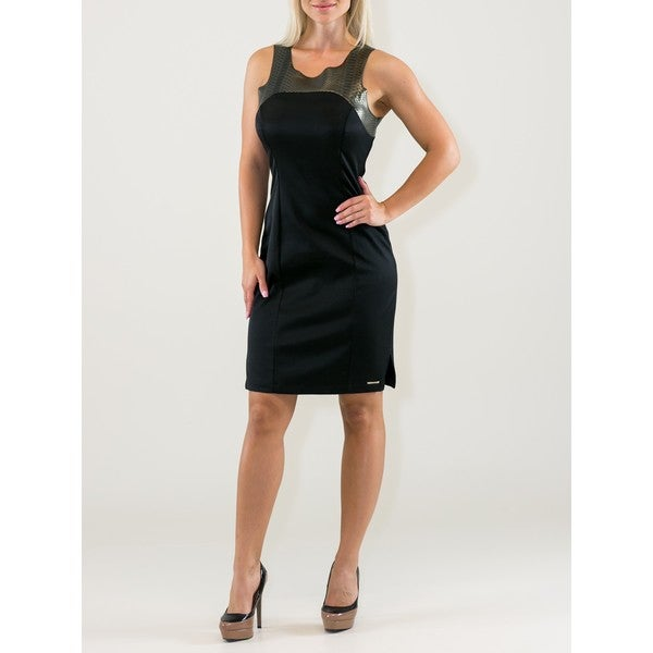 Black/Gold Cotton/Polyester Little Black Dress with Snakeskin Shoulders