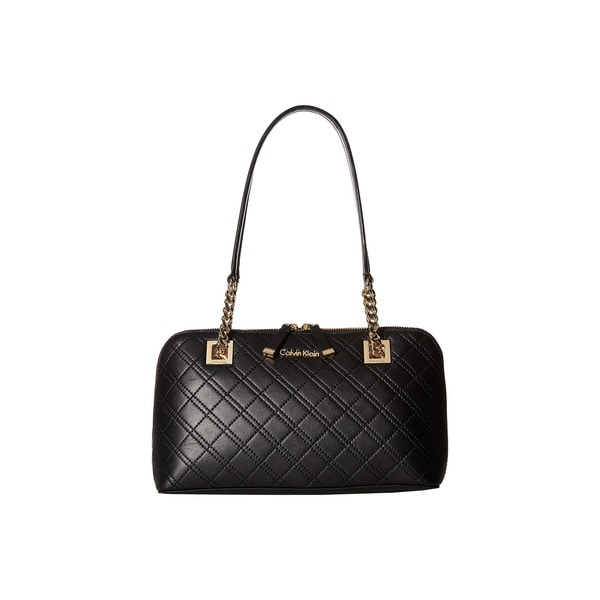 Calvin Klein Black/ Gold Leather Quilted Satchel