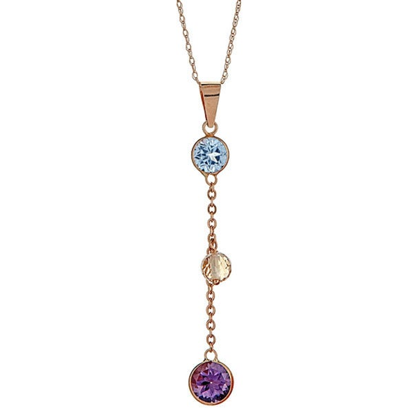 14k yellow gold multi semi precious necklace