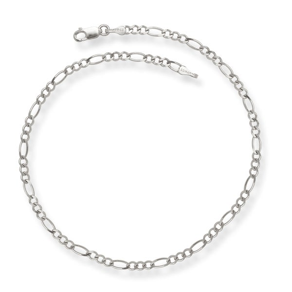 14k White Gold Figaro Chain Anklet