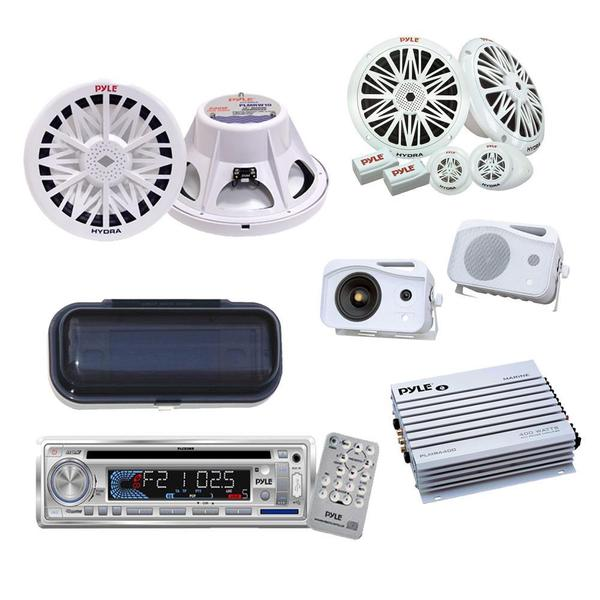 Pyle KTMRGS59 Mega CD/ Amplifier/ Subwoofer/ Speakers Waterproof Package for Boat/ Car/ Truck/ SUV