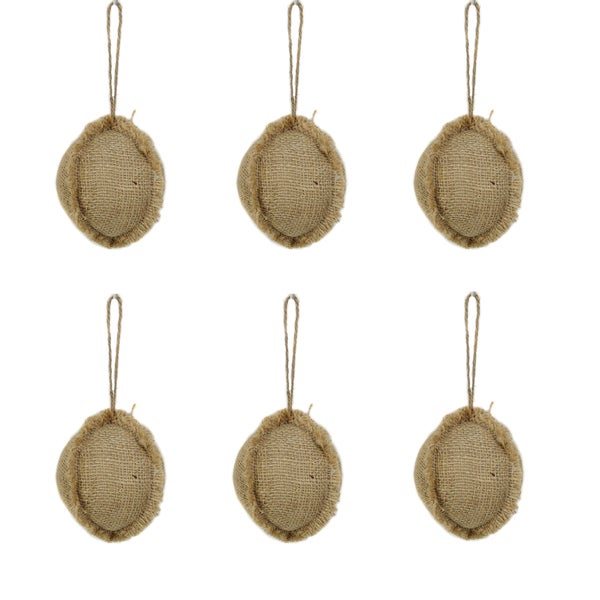 4-inch Burlap Christmas Natural Ornament Ball (Pack of 6)