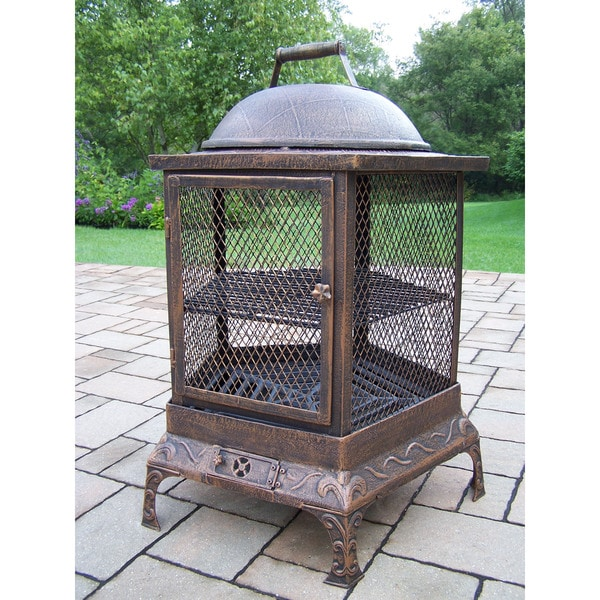 Oakland Living Corporation Lantern Brown Wrought Iron Round Chimenea Fire Pit