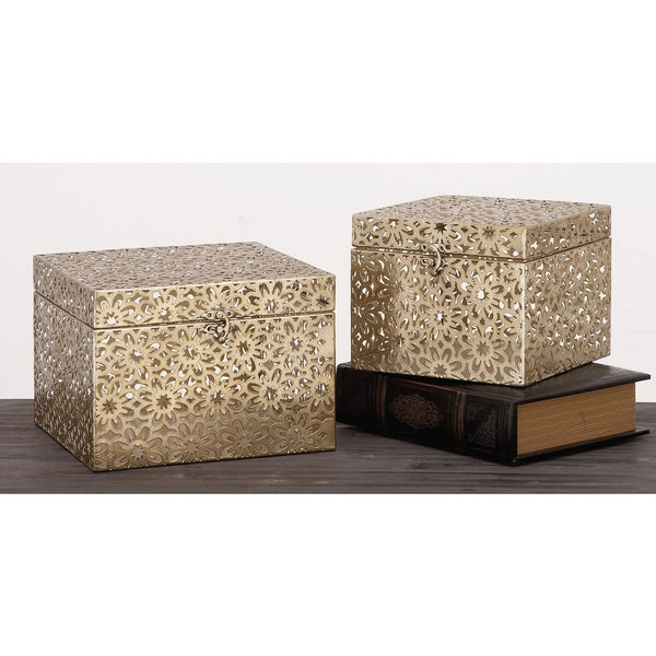 Urban Designs Champagne 2-Piece Metal Keepsake Decorative Box Set