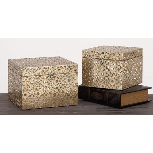 Urban Designs Champagne 2-Piece Metal Keepsake Decorative Box Set