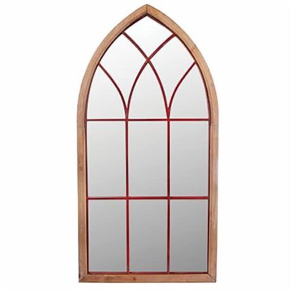 Antique Brown Glass/Wood Aged Cathedral Mirror