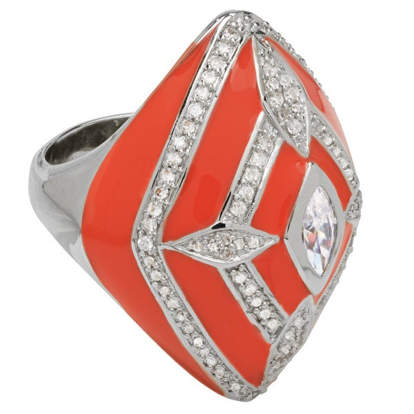 Ladies' Orange Brass Cubic Zirconia Diamond-Shaped Ring