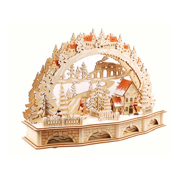 Illuminated Wooden Christmas Village