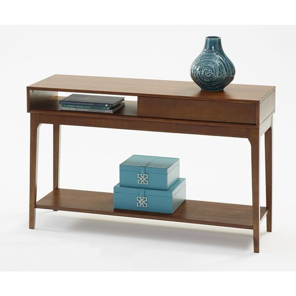 Progressive Brown Rubberwood and Veneer Sofa Table