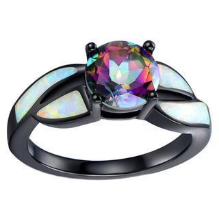Black Rhodium-plated White Opal and Mystic Topaz Ring - Pink