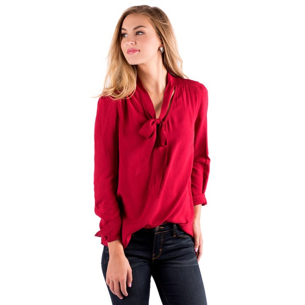 DownEast Basics Women's It's a Tie Red Rayon Blouse