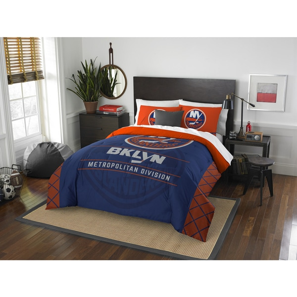 NHL 849 Islanders Draft Blue/Orange Polyester Full/Queen 3-piece Comforter and Sham Set