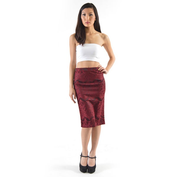 Women's Red Polyester and Spandex Crochet Lace Pencil Skirt