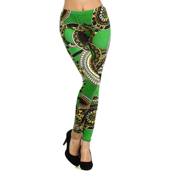 HoneyComfy Ladies' Stella Elyse Green Cotton Printed Leggings