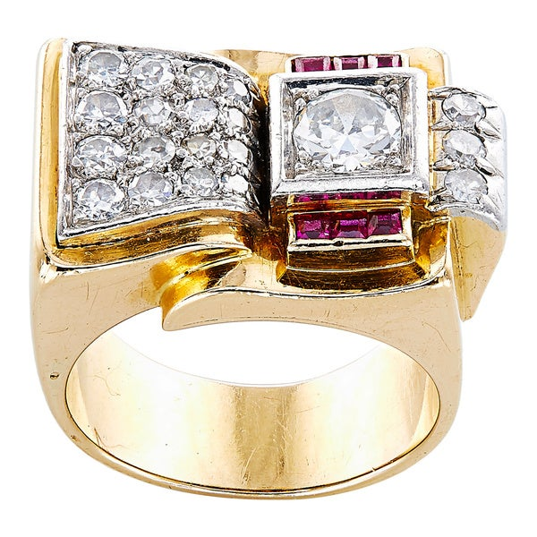 18K Yellow Gold 1 1/4ct TDW Diamonds and Rubies French Estate Deco Ring (G-H, VS1-VS2) 21977161