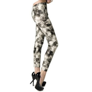 HoneyComfy Women's Stella Elyse Black Floral Wreaths and Storm Clouds Print Leggings