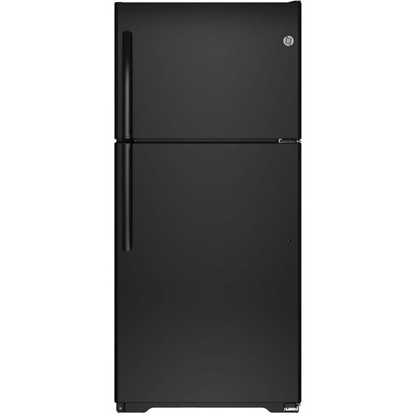GE Energy Star Black 18.2 Cu.Ft. Top-Freezer Refrigerator