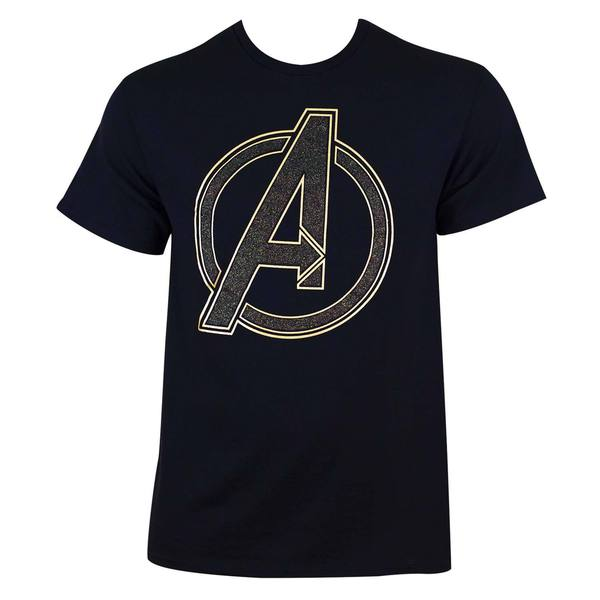 Men's Black Cotton Avengers Glitter Logo T-shirt