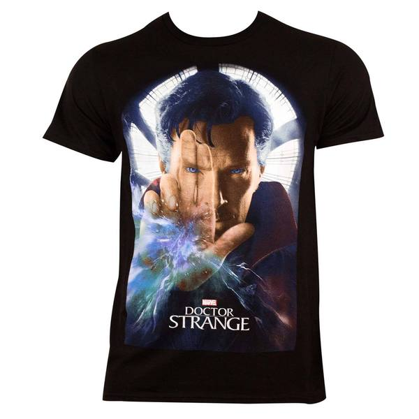 Men's Dr. Strange Movie Poster Black Cotton T-shirt