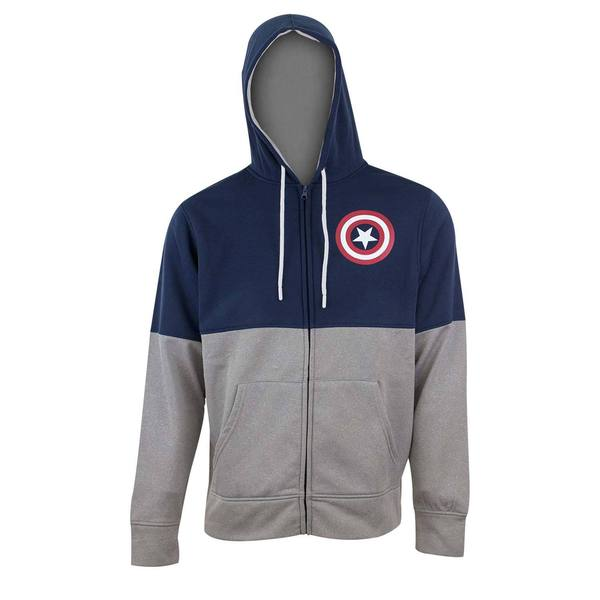 Captain America Two-tone Blue Polyester Fleece Hoodie 21980933