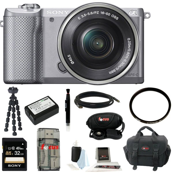 Sony Alpha a5000 SLR Camera w/ 16-50mm Lens and 32GB SDHC & Battery Accessory Bundle (Silver)