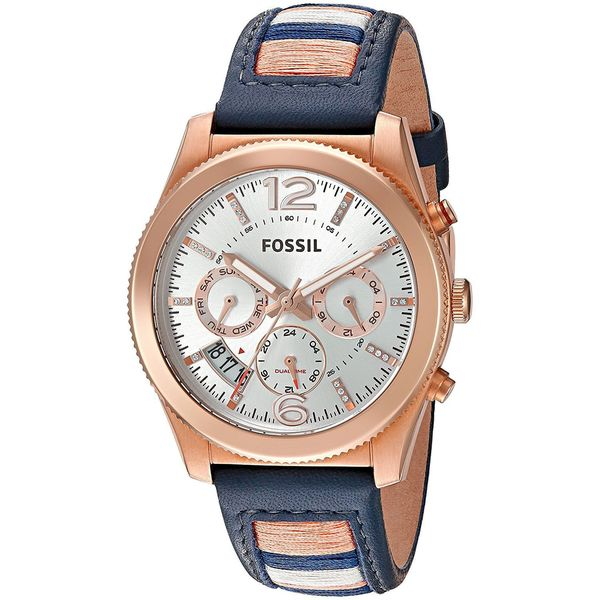 Fossil Women's ES4082 'Perfect Boyfriend' Multi-Function Dual Time Crystal Striped Blue Leather Watch