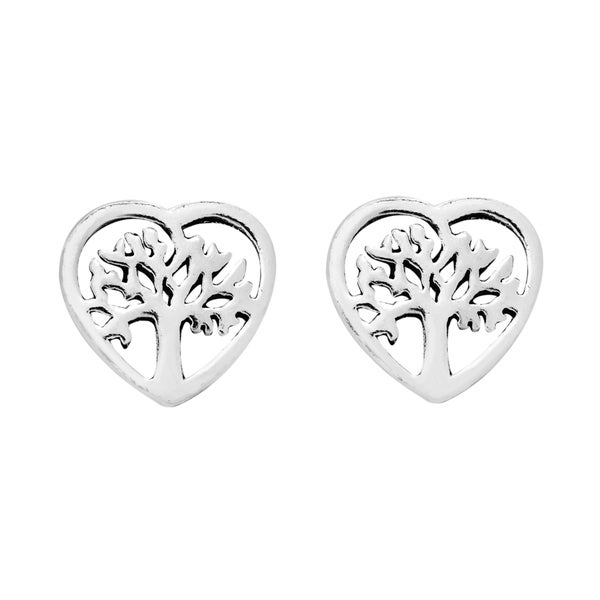 True Heart Cover Tree of Life Sterling Silver Stud Earrings (Thailand)