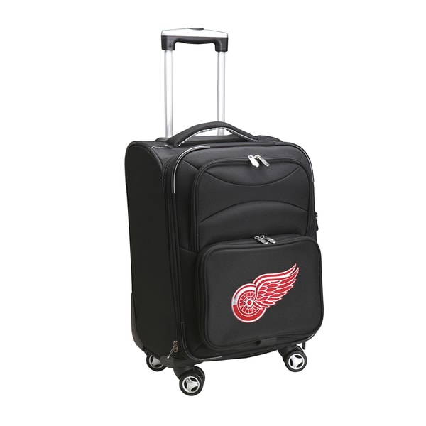Denco Sports Detroit Red Wings Black Ballistic Nylon 20-inch Carry-on 8-wheel Spinner Suitcase