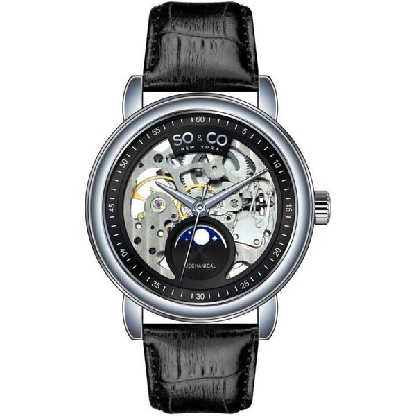 SO&CO New York Men's Black Leather Strap Mechanical Skeleton Moon Phase Watch