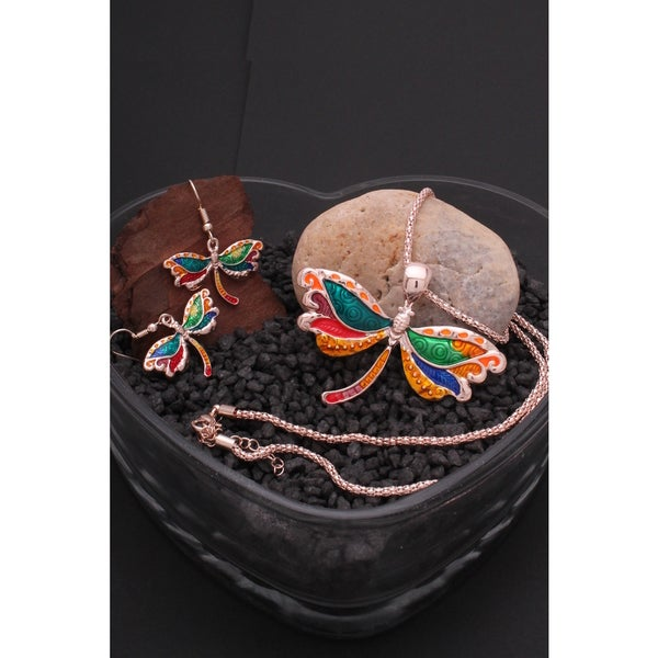 Bleek2Sheek Rose Gold-tone Rainbow Dragonfly Choker Necklace and Earring Jewelry Set