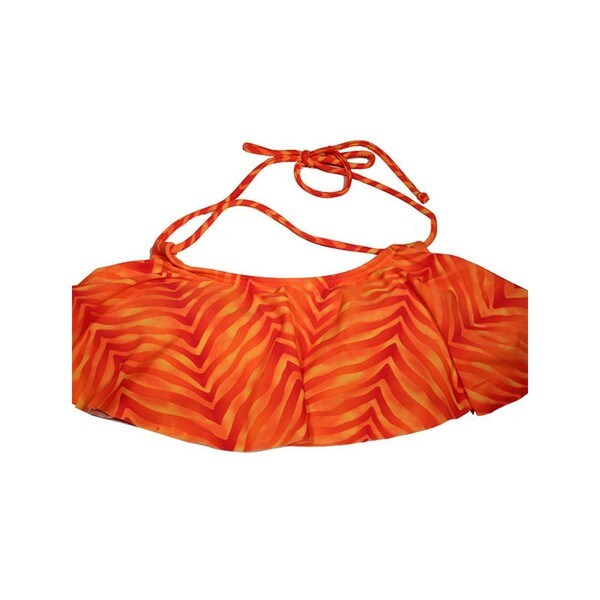 Women's Orange Animal Print Hanky Bikini Top