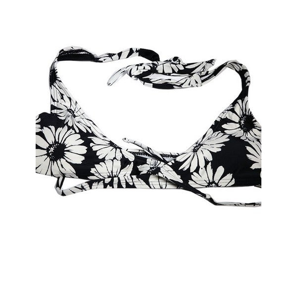 The Wrap Black and White Nylon/Spandex Daisy Bikini Halter Top