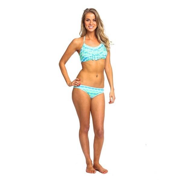 Women's Aruba Blue Spandex Fringe Halter Bikini Set