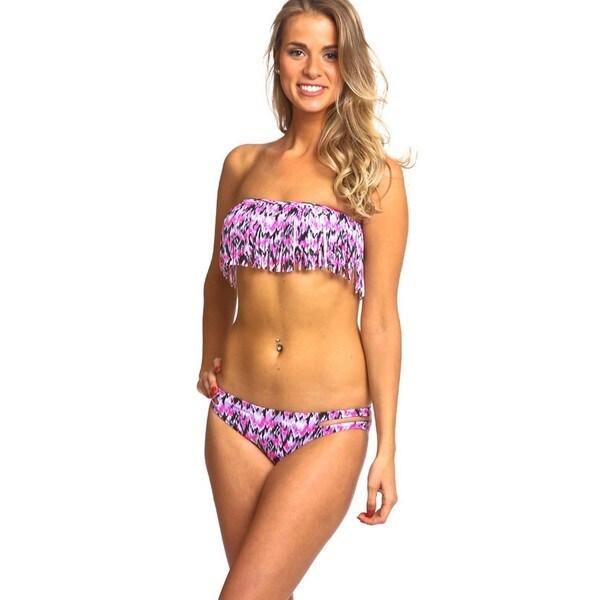 The Fringe & Cutside Bikini Set - Black & Pink