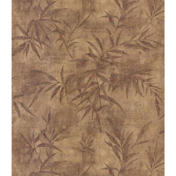 Brewster Brown Vinyl Leaf Wallpaper