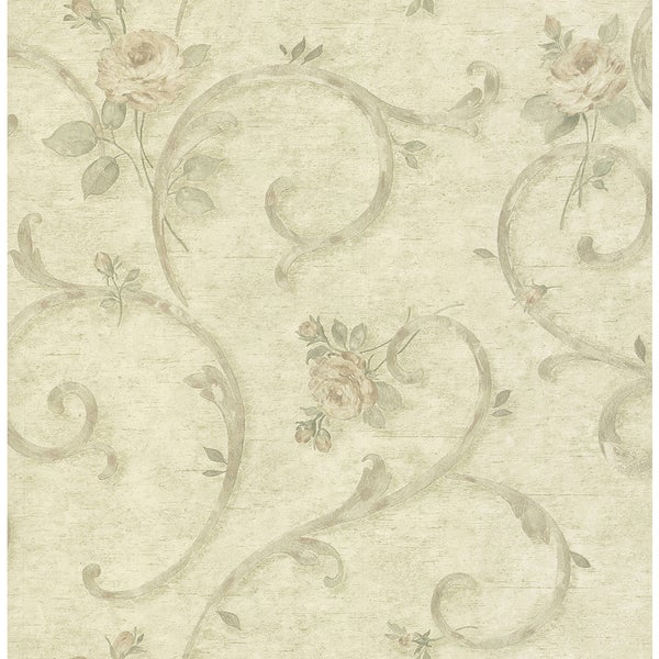 Helena Light Green Vinyl Floral Scroll Wallpaper