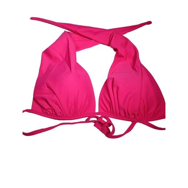 Fushia Spandex Halter Bikini Top