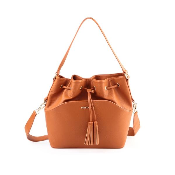 Suzy Levian Tassle Drawstring Bucket Handbag