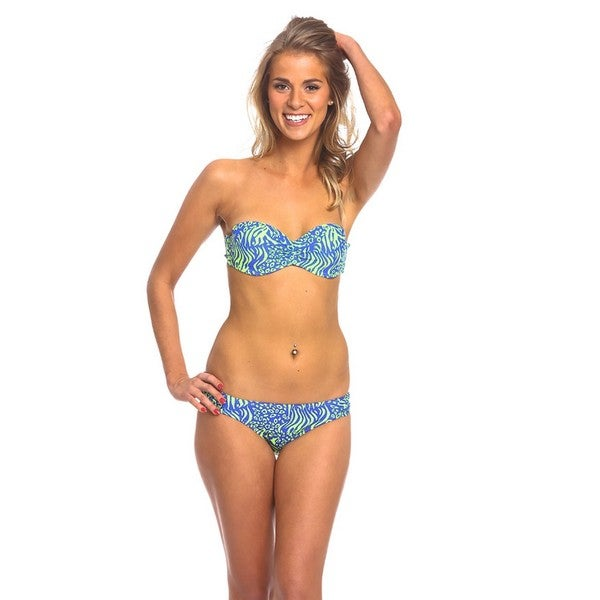 Women's Neon Animal Underwire Bandeau Top and Ruched Side Bottom Bikini Set