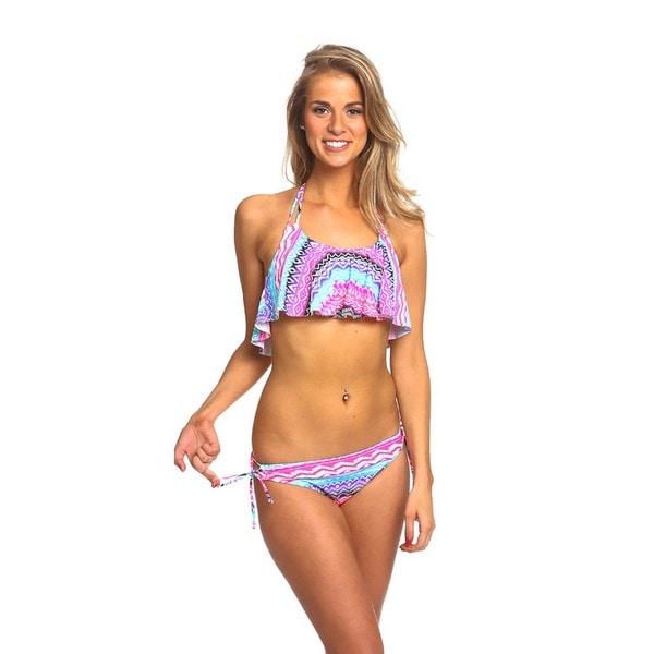 Women's Pastel Tribal Pink Spandex Hanky Top Keyhole Bottom Bikini Set