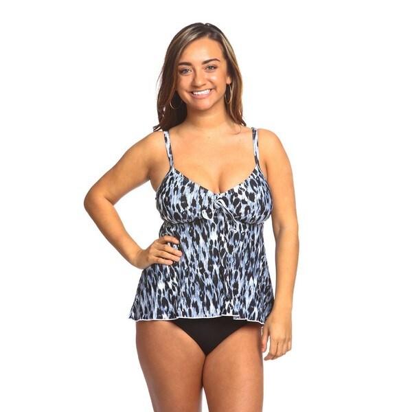 Women's Blue Leopard Print Swing Swimsuit Top
