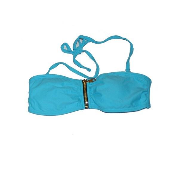 Blue Zipper Bandeau Bikini Top
