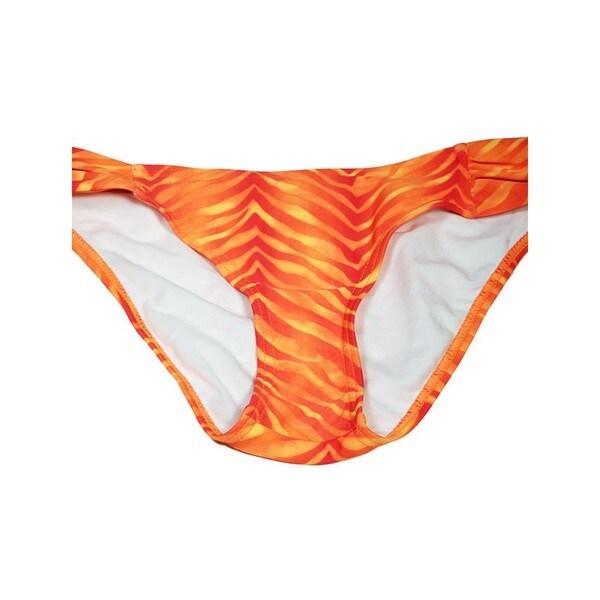 Women's Orange Lycra Animal-print Ruched Swimsuit Bottom